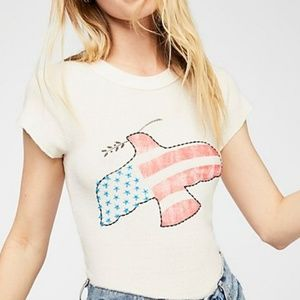 We the Free American Flag Dove Ivory Top Size XS